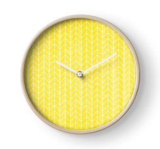 yellow watercolor herringbone geometric pattern clock