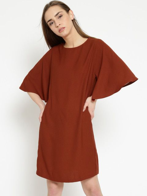 Flaunt your feminine charm with this bell sleeved shift dress. Women dress,  rust dress