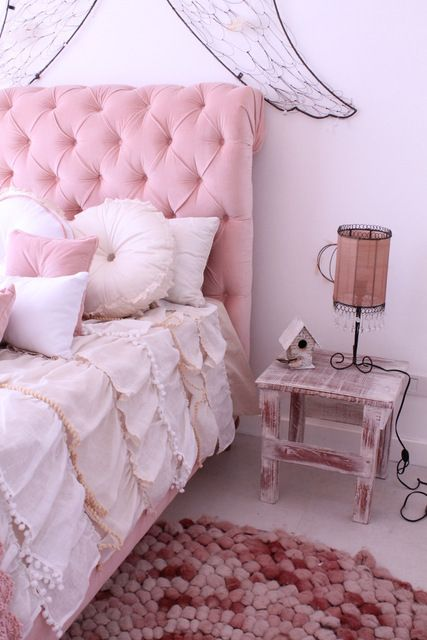 pink bedroom-tufted headboard, angel wings, and ruffled bedding! - Get 20+ Pink Headboard Ideas On Pinterest Without Signing Up