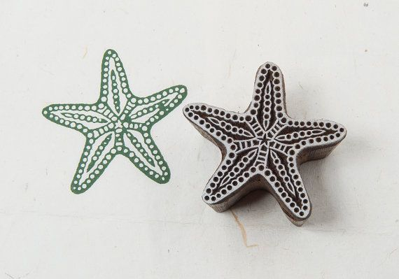 Starfish wooden printing block by BLOCKWALLAH on Etsy