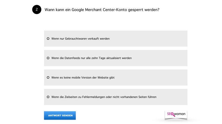"""Frage 02 ➤  """"Wann kann ein Google Merchant Center-Konto gesperrt werden?"""""""