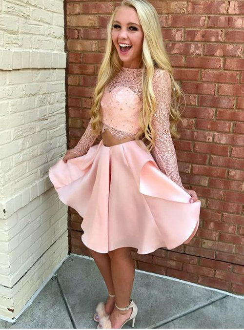 7f20cb8f5f4 Pink Lace Satin Short Two Piece Homecoming Dresses Long Sleeves 2017 in  2019