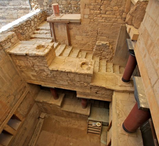 The Minoan palace of Knossos, Crete. With already a history of extensive human occupation, the first palace was built here approximately 2000 BC.