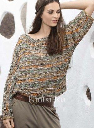 трехцветный пуловер спицами