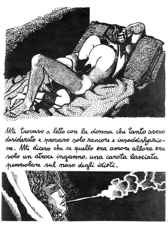 Andrea Pazienza - Una carota lasciata penzolare sul naso degli idioti.