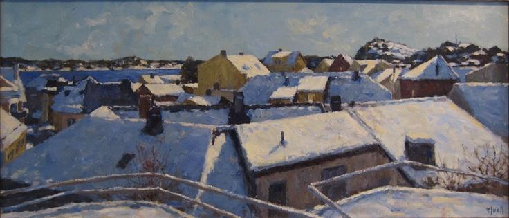 Tore Juell (1942-): Senvintersol over hustak