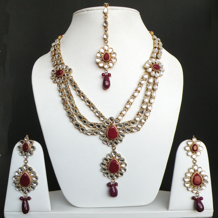 Beautiful South Indian Double Long Necklace Set: Details About 4PC VERY BEAUTIFUL INDIAN GOLD PLATED KUNDAN
