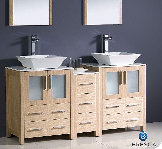 Torino 60 Inch Light Oak Vessel Vanity With Side Cabinet Fvn62 241224lo Vsl By