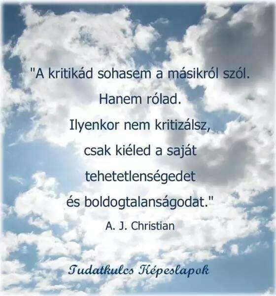 A. J. Christian gondolata a kritizálásról. A kép forrása: Tudatos életmód # Facebook