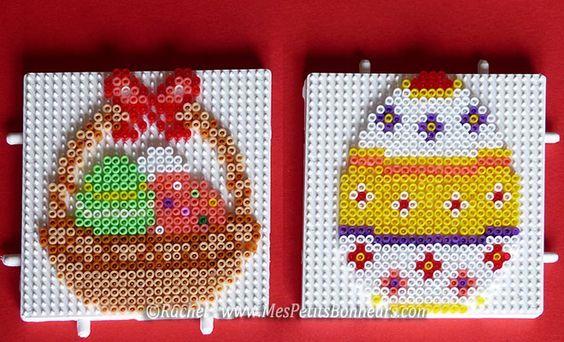 Easter egg and basket hama mini beads by Rachel - Mes Petits Bonheurs: