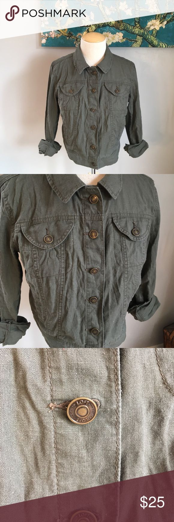 Ann Taylor Loft Cotton Button Up Army Green Jacket Ann Taylor Loft Cotton Button Up Army Green Jacket with long sleeves. Worn and washed. Smoke free home. EUC. Front pockets. LOFT Jackets & Coats