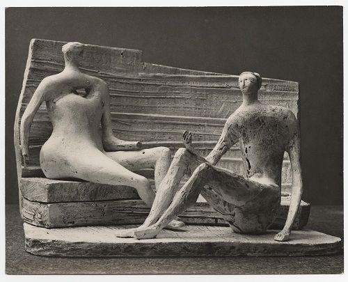 Henry Moore – Two Seated Figures against Curved Wall (plaster maquette for UNESCO commission 1956- 57) 1957 silver gelatin print (Lidbrooke)