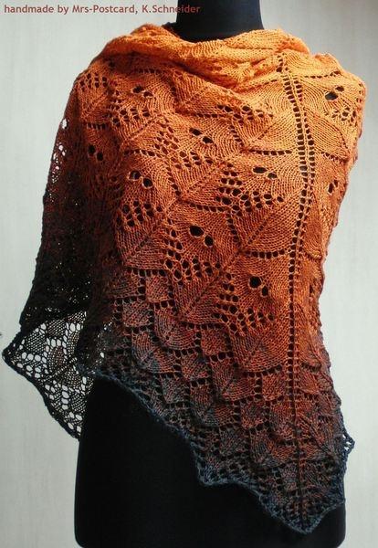 klassisches Dreieckstuch / Schulter-Tuch / Stola mit tollem Lace-Muster in einem tollen Farbverlauf    Tuch SAMEIS  ein richtiger Hingucker!     De...