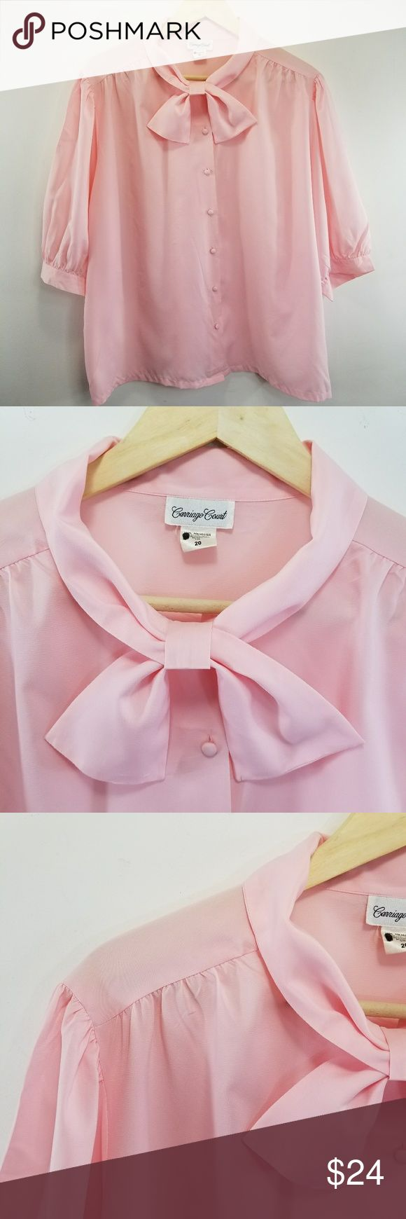 """Carriage Court Vintage Secretary Blouse Top 1980s Carriage Court  Style 83114 100% Polyester (does not stretch) Faux bow at neckline Button cuffs Pleated shoulders Fabric covered buttons  21"""" (53 cm) Sleeve circumference  15"""" (38 cm) sleeve length 50"""" (127 cm) chest 26"""" (66 cm) back of neck to bottom hem  Marker writing on care tag. See photos. Carriage Court Tops Blouses"""