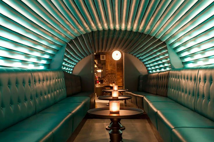 The Tunnel at Dirty Martini, London - a unique room for private parties with luxury fixed seating and a beautiful upholstered roof manufactured and installed by Fitz Impressions.