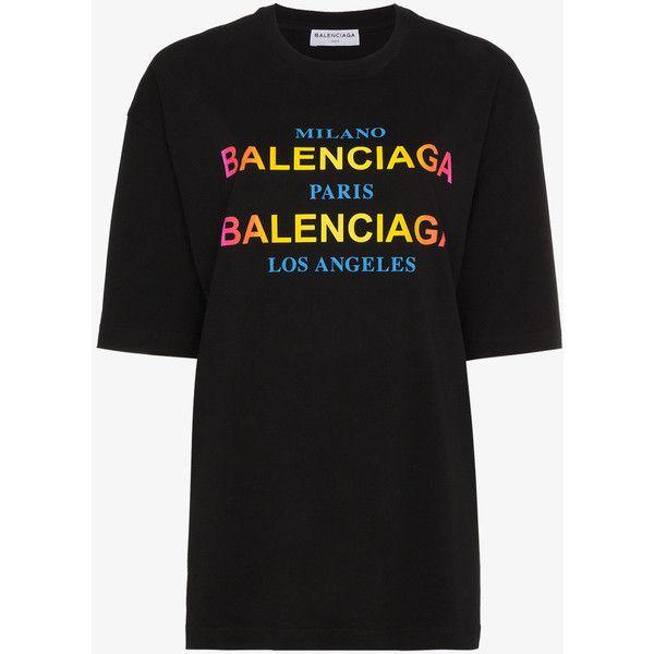 f9f70e84337f Balenciaga Multi Logo T-Shirt ($435) ❤ liked on Polyvore featuring tops, t- shirts, black, balenciaga tee, cotton tees, balenciaga top, logo tee and logo  t ...