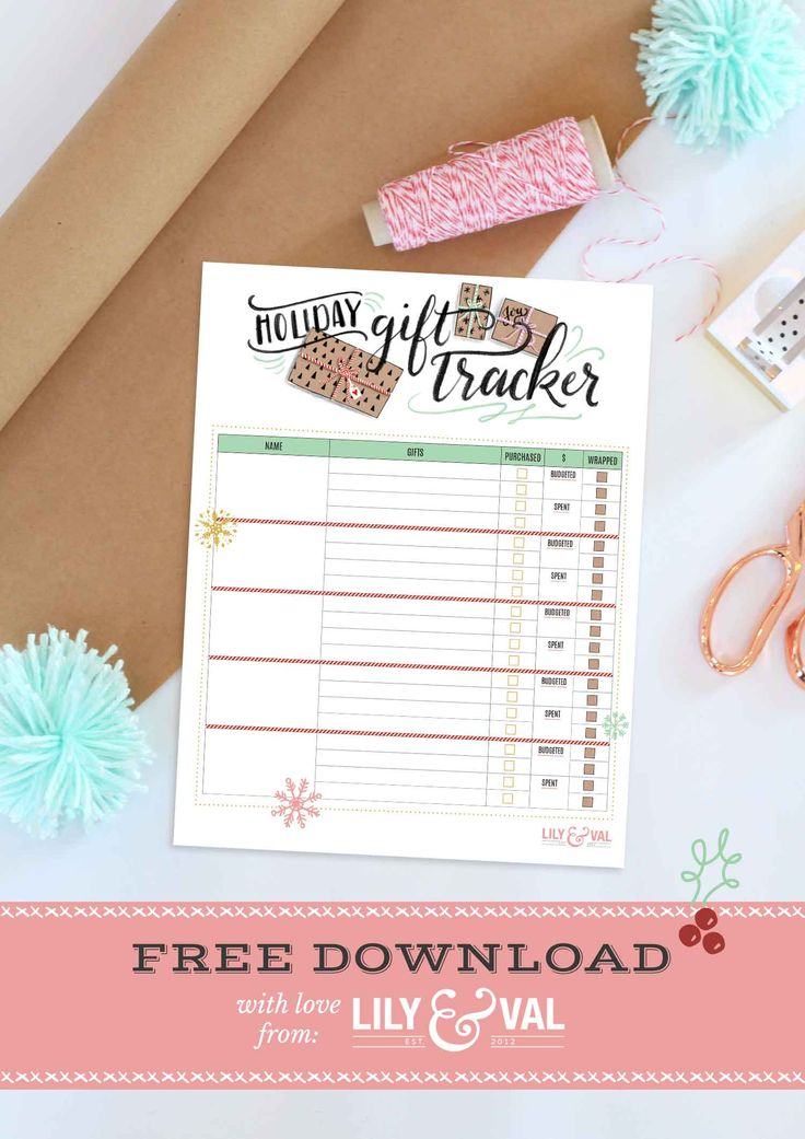 Holiday Gift Tracker Free Download Free christmas
