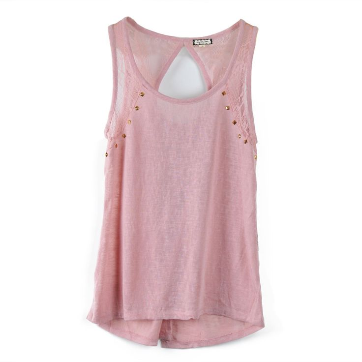 Pure Color Tank with Lace Panel