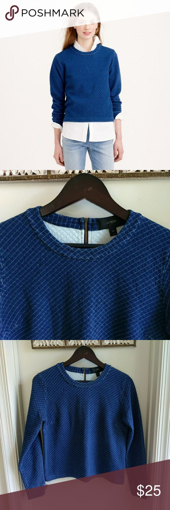 J crew Quilted indigo sweatshirt Minimal signs of wear. 100% cotton. Length 21 in, bust  flat lay 18 in. All reasonable offers considered!! J. Crew Tops