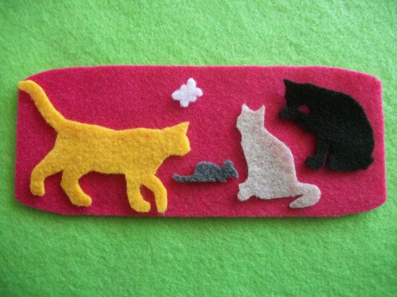 Cat Trio with mouse and butterfly felt board set, mini felt set, cats, kitties on Etsy, $3.50