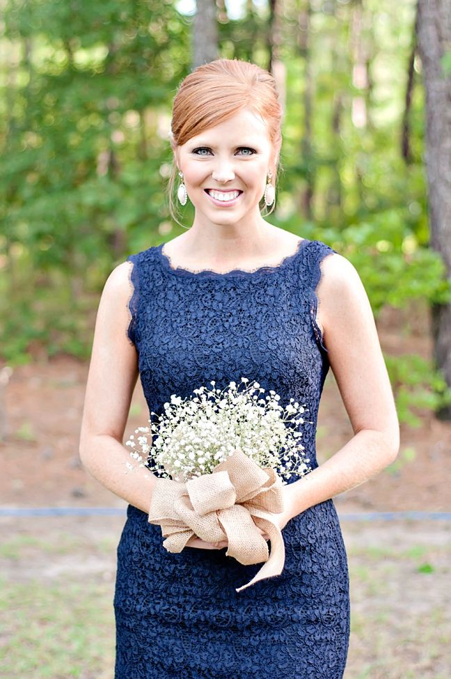 Navy blue bridesmaids dress + baby's breath bouquet wrapped with burlap