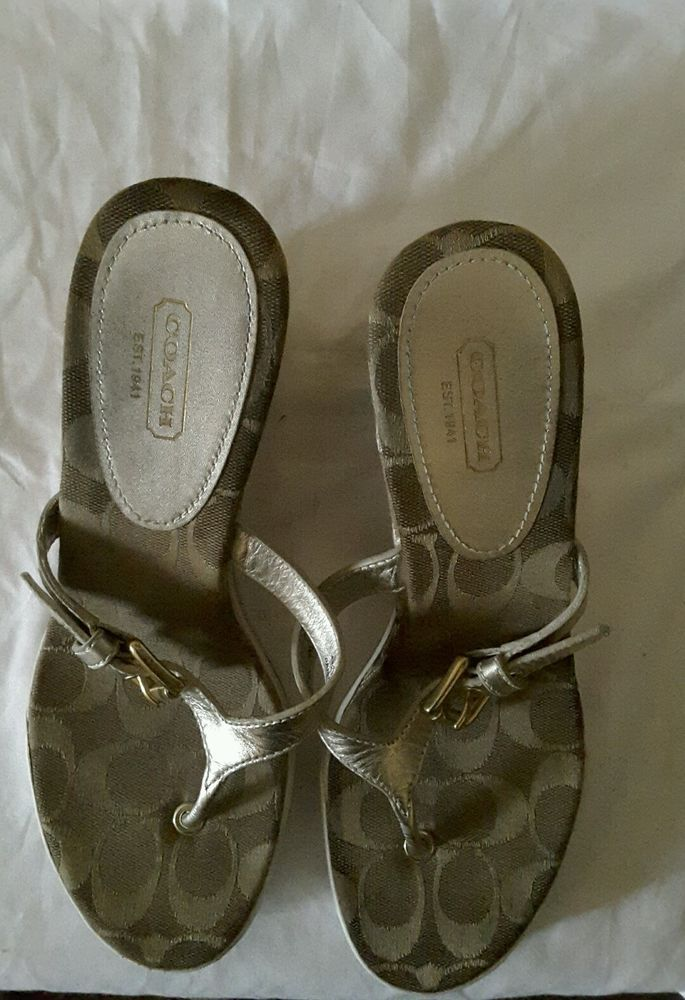 Coach Signature women's Pristine wedge thong sandals brown gold white size 8 B. This wedge gas a sneaker like sole.   eBay!