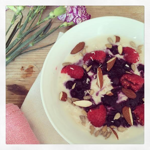 Coconut Oil and Summer Berry Porridge