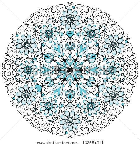 Round blue-gray-black floral lacy vintage pattern on white (vector) - stock vector