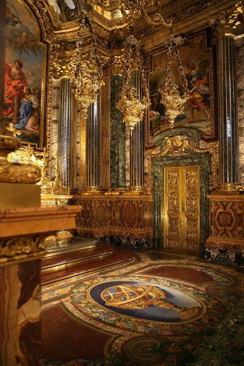 Chapel of St. John the Baptist, Lisbon, Portugal.Considered to be a masterpiece unique in European art, this chapel was ordered from Rome in 1740 by King John V.At the time of its completion, it was said to be the most expensive chapel in Europe, funded by the crown using the gold and other wealth that flowed to Portugal from Brazil.Precious materials were demanded by the Portuguese court from the very beginning; thus we find several types of ornamental stones: lapis l