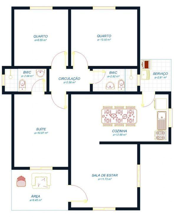 Modelos de Casas Pequenas e Simples Fotos e Detalhes 2 quartos 1 suite