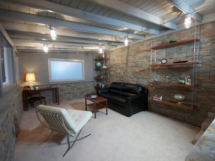 living rooms and family spaces  exposed basement ceiling