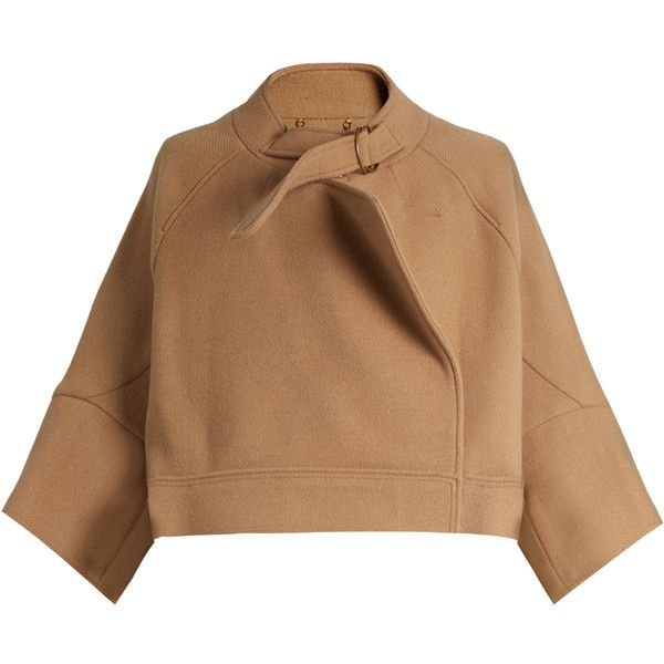 Chloé Neck-strap wool-blend jacket (€1.550) ❤ liked on Polyvore featuring outerwear, jackets, tops, coats & jackets, coats, camel, buckle jackets, cape coat, wool-blend jacket and wool blend cape coat