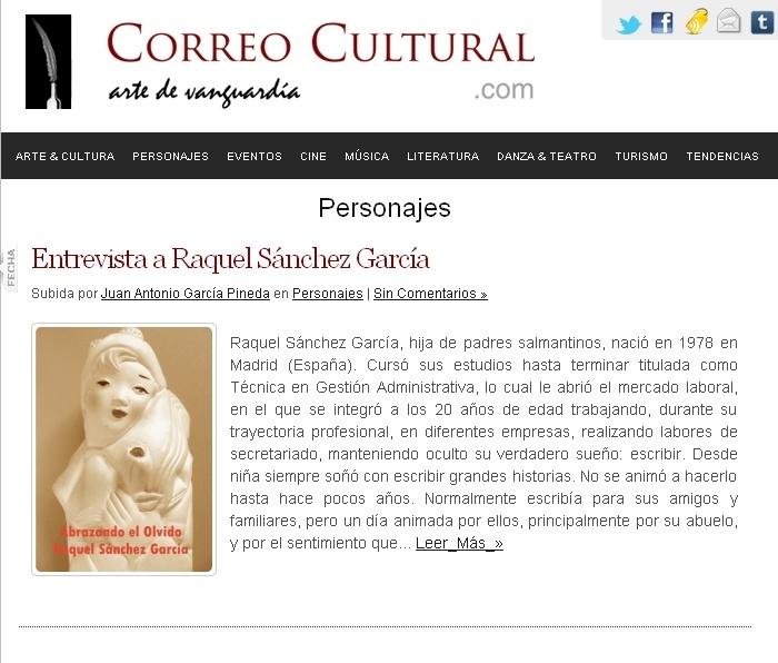 Entrevista en Correo Cultural (16 de Febrero de 2012) http://relatosjamascontados.blogspot.com.es/2012/02/entrevista-en-correo-cultural-16-de.html
