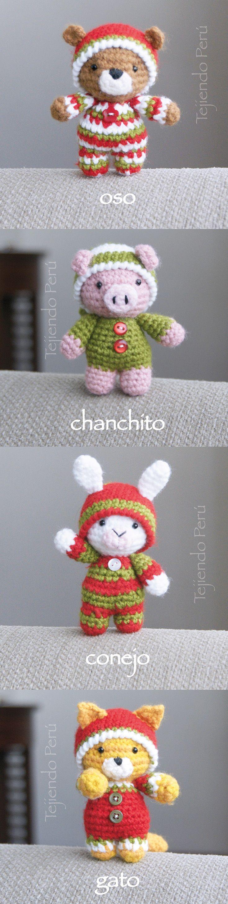 Oso, gato, chanchito y conejo bebés en pijamas esperando Navidad! Están tejidos a crochet (amigurumi). Vídeo tutorial del paso a paso!