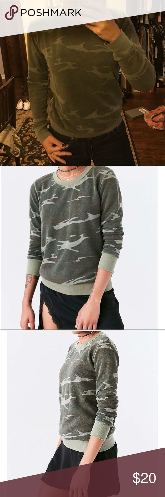 UO Camo Sweatshirt Truly Madly Deeply from Urban Outfitters..  Camo sweatshirt: comfy, edgy, on trend.  Pair with jeans, leggings, skirts...  effortless. fits like a small. Urban Outfitters Sweaters Crew & Scoop Necks