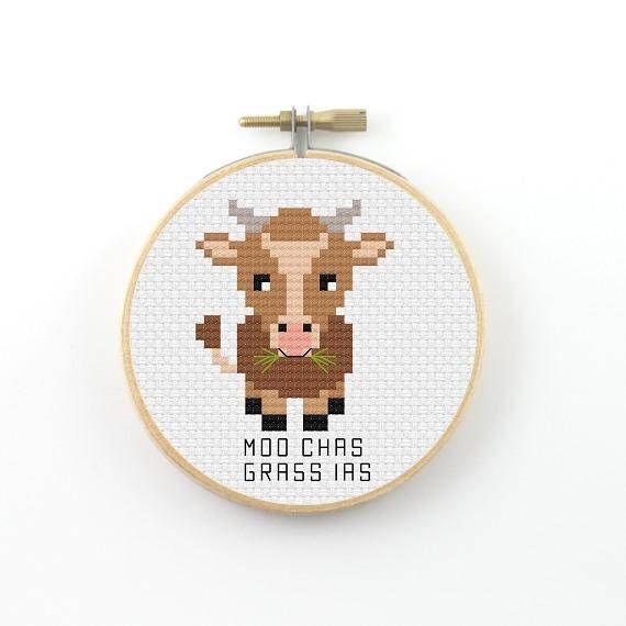 mooc hias grass ias cross stitch pattern, cow pdf pattern, cow pun cross stitch, cow cross stitch, muchas gracias, thank you gift