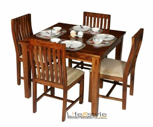Square Dining Table Handcrafted Sheesham Wood Square Dining Set