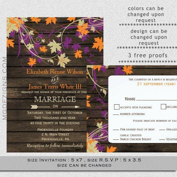 printable rustic barnwood plum orange fall leaves rustic fall wedding invitations and rsvp template 2500 - Rustic Fall Wedding Invitations