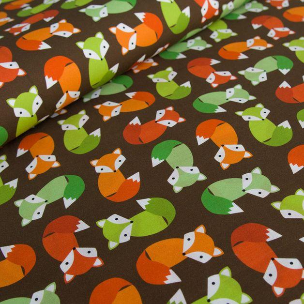 Bawełna 100% JESIENNE LISKI - mcolors - Tkaniny dla dzieci