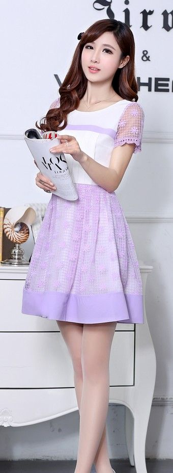 Short Sleeve Korean Dress Lace Skirt YRB0043