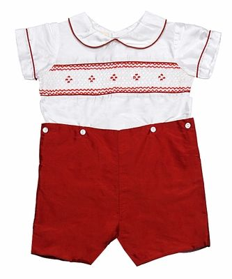 Le Za Me Baby / Toddler Boys Smocked Christmas Button On Suit - Red Silk