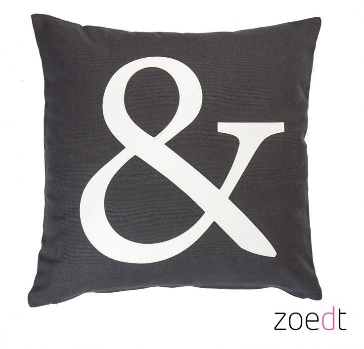 Grijs kussen met wit & teken - #pillow - www.vanmariel.nl