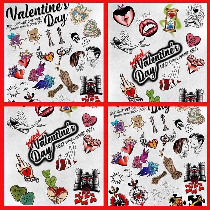 This is it! Tomorrow we'll be running this special for all the love briefs out there! Any couple tattoos ($100-$200) for one and your partner will be free! And for all the anti valentine's peeps we have a special for you too! Any single tattoo from the sheet will be $80 and the tiny ones for $31! Make your appointment today!