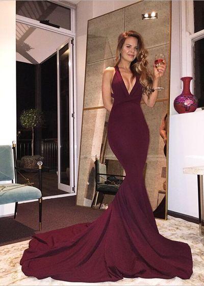 Real Sexy Long Mermaid Prom Dresses,Plum Prom Dress For Teens,Handmade Evening Dresses,Simple Cheap Backless Prom Dresses,Party Dresses,Prom Gowns,301