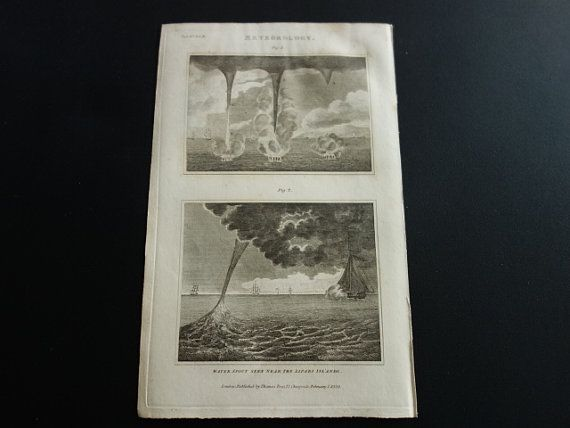 185 year old print of waterspout tornado waterhoos prent 1829 antique by DecorativePrints