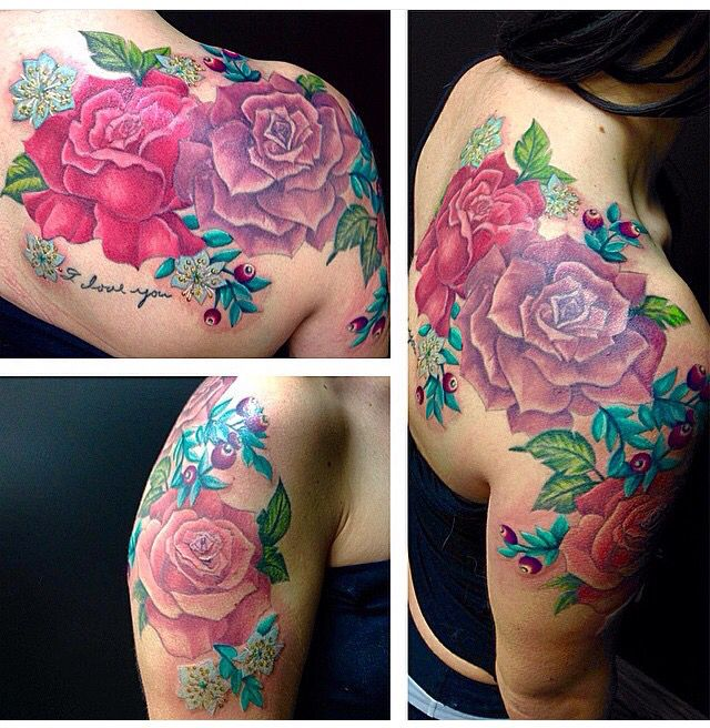 Colourful dose and flower half sleeve tattoo and shoulder. Edmonton tattoo artist. Rose, mertle and berries.