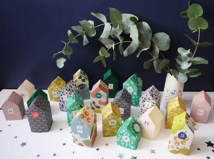 Un village de l'Avent réalisé avec les papiers imprimés de Mini labo
