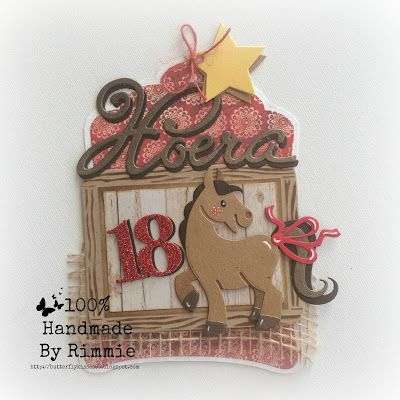 Handmade birthday card by DT member Rimmie with Collectables School Slate (COL1373), Eline's Piglet (for the ribbon) (COL1402), Eline's Horse & Unicorn (COL1408), Elegant Numbers (COL1418), Hoera - NL (COL1348) and Craftables Label XL & Labels XS (CR1353) from Marianne Design