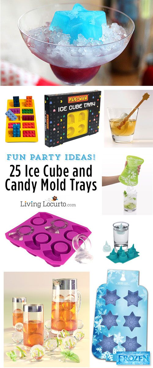 25 Fun Party Ice Cube & Candy Mold Trays. So many great ideas for drinks, candy and more! LivingLocurto.com