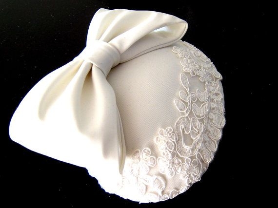 Graceful Bride  Custom made Ivory white satin by BettinaMillinery, $300.00French Birdcages, Cocktails Hats, Grace Brides, White Satin, Ivory White, Bettina Millinery, Satin Bows, Lace Cocktails, Birdcages Wedding
